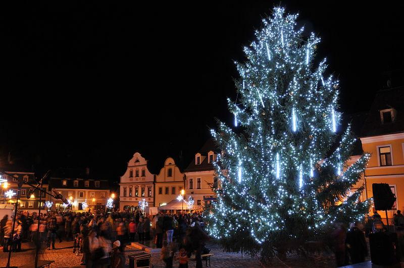 Rozsvícení vánočního stromu v Hrádku nad Nisou s obdarováním pejsků.